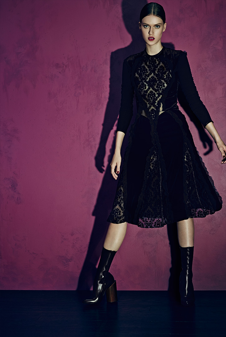 Givenchy Velvet & Chiffon Ruffle Dress