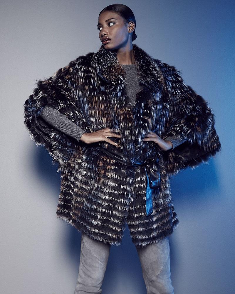 Gorski Layered Silver Fox Fur Belted Cape