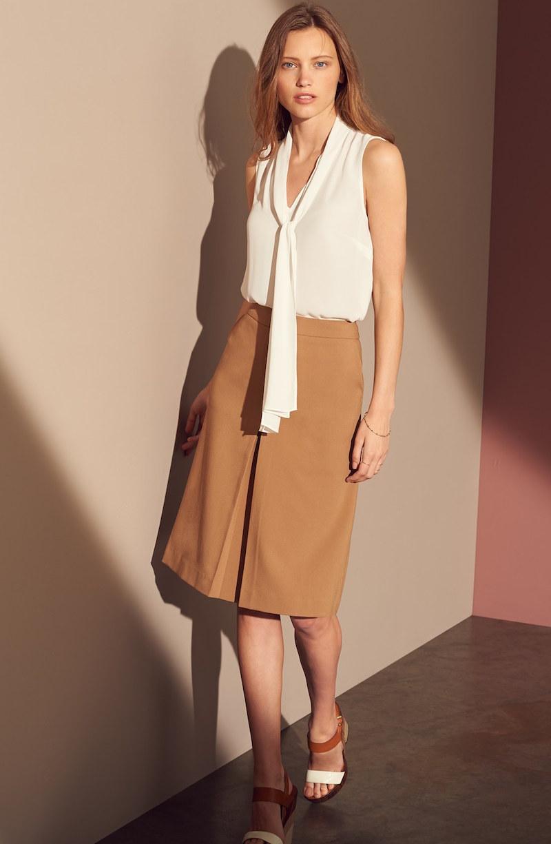 Halogen Pleat Front A-Line Skirt