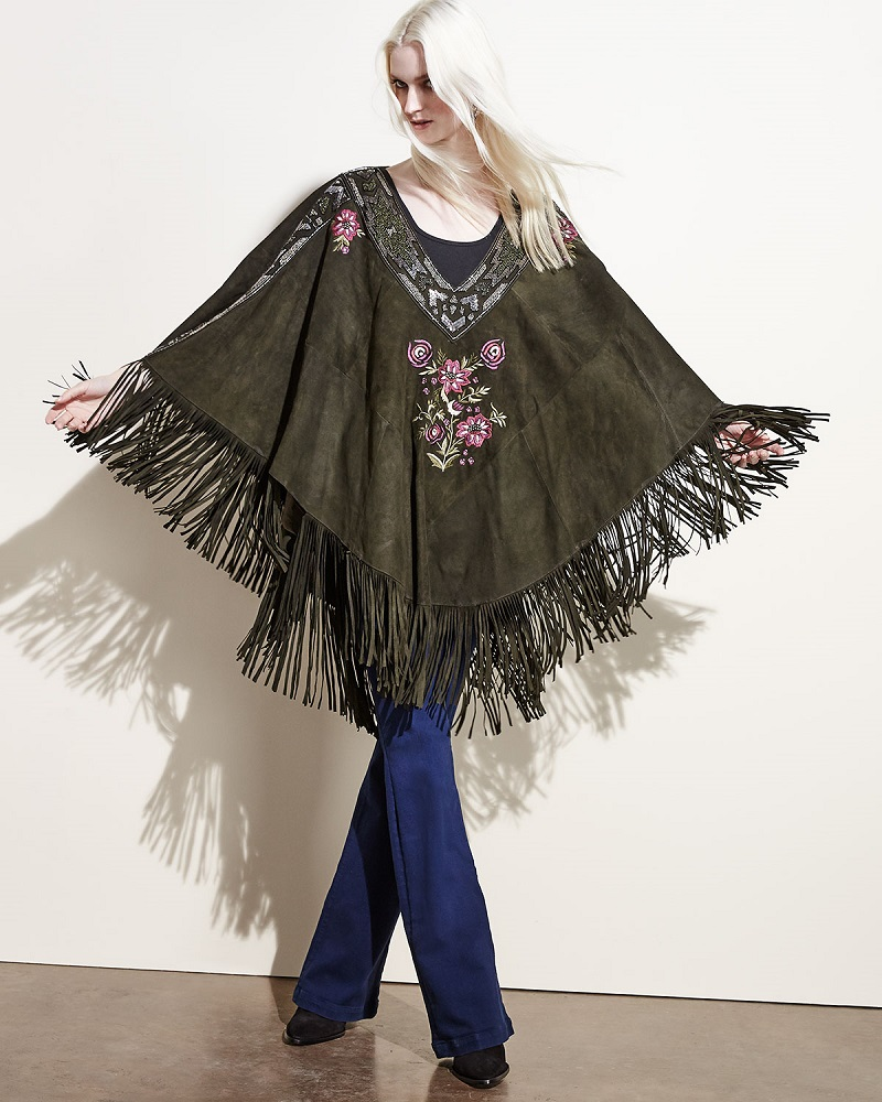 Haute Hippie  Embroidered Suede Fringe Poncho