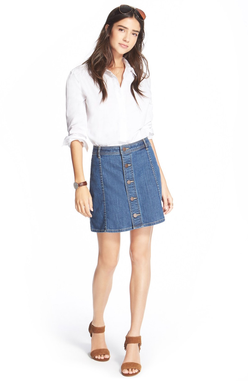 Hinge Button Front Denim Skirt