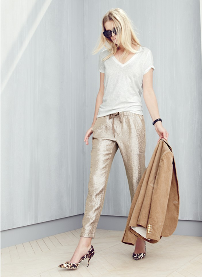 J.Crew Washed lamé pull-on pant