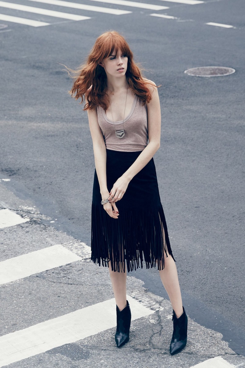 J.O.A. Faux Leather Fringe Skirt