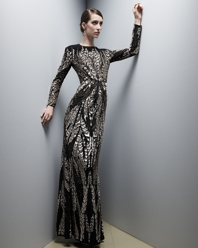 Jenny Packham Long-Sleeve Bead-Embroidered Gown