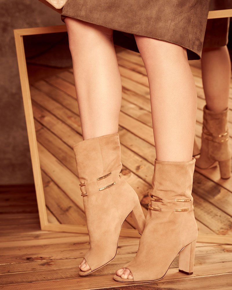 Jimmy Choo Mysen Suede Peep-Toe Boot
