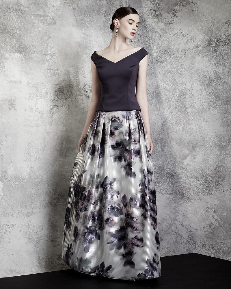 Kay Unger New York Floor-Length Floral-Print Skirt