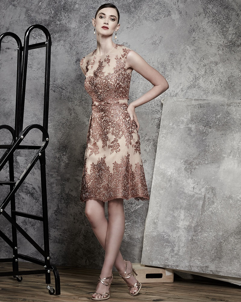 Kay Unger New York Sleeveless Lace Tulle Cocktail Dress
