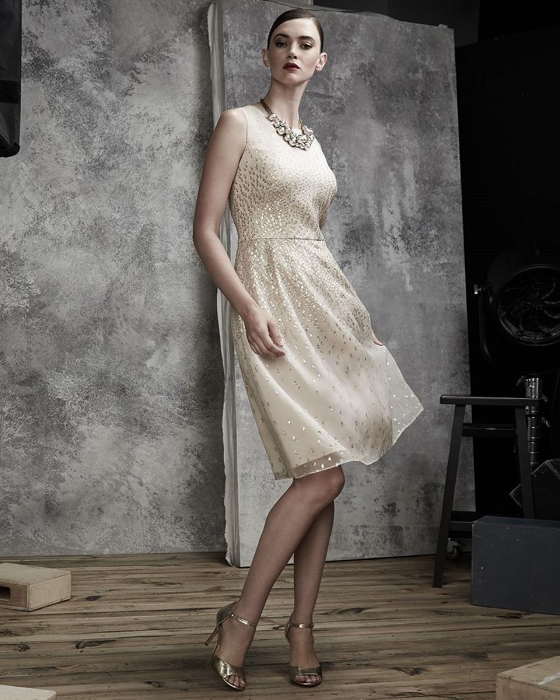 Kay Unger New York Sleeveless Organza Cocktail Dress