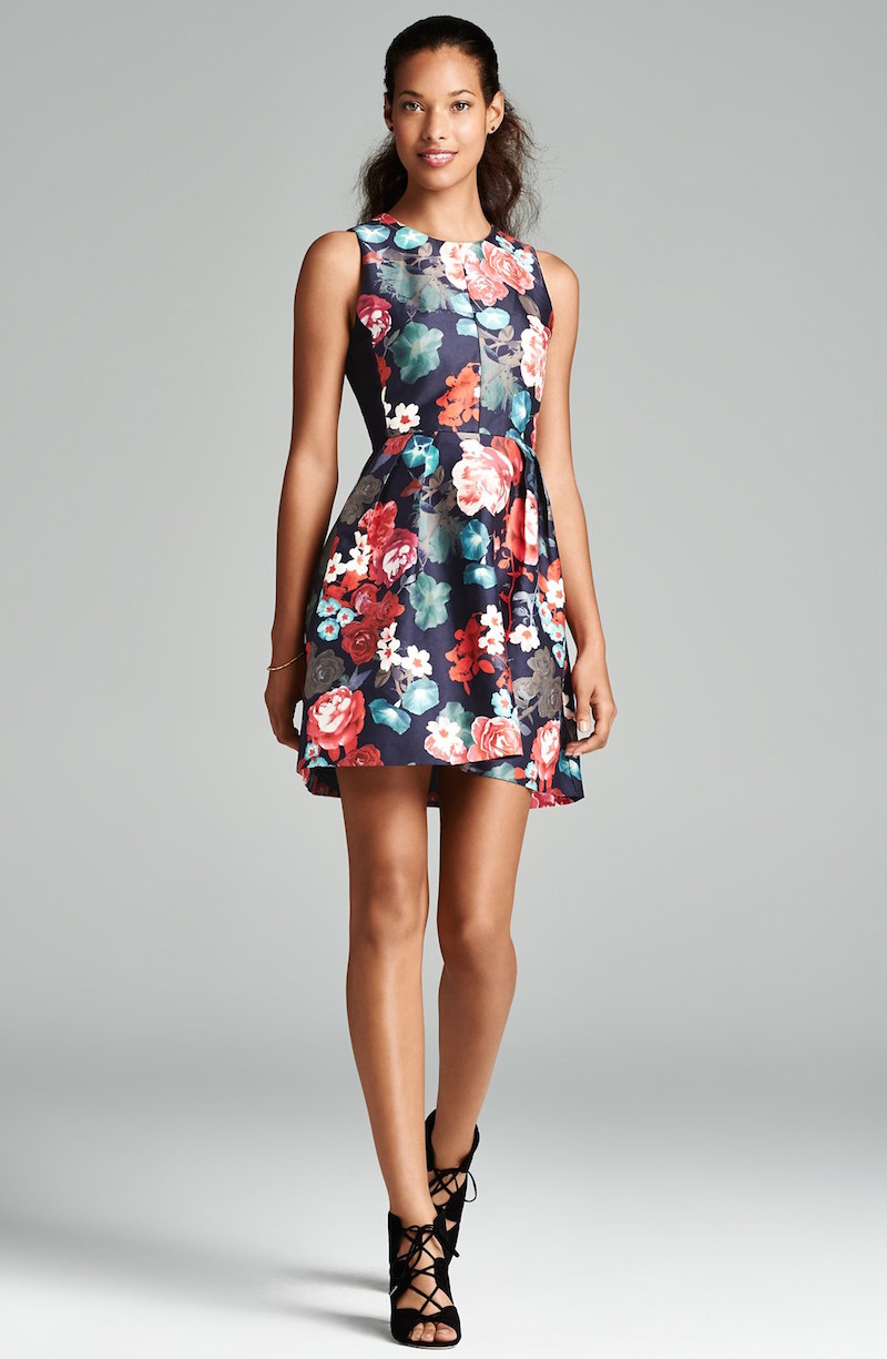 Kaya & Sloane Floral Print Woven Fit & Flare Dress