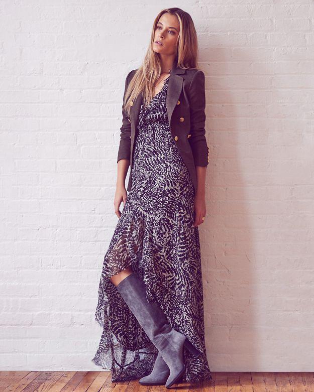 L'Agence Sophie Flutter Sleeve Printed Dress