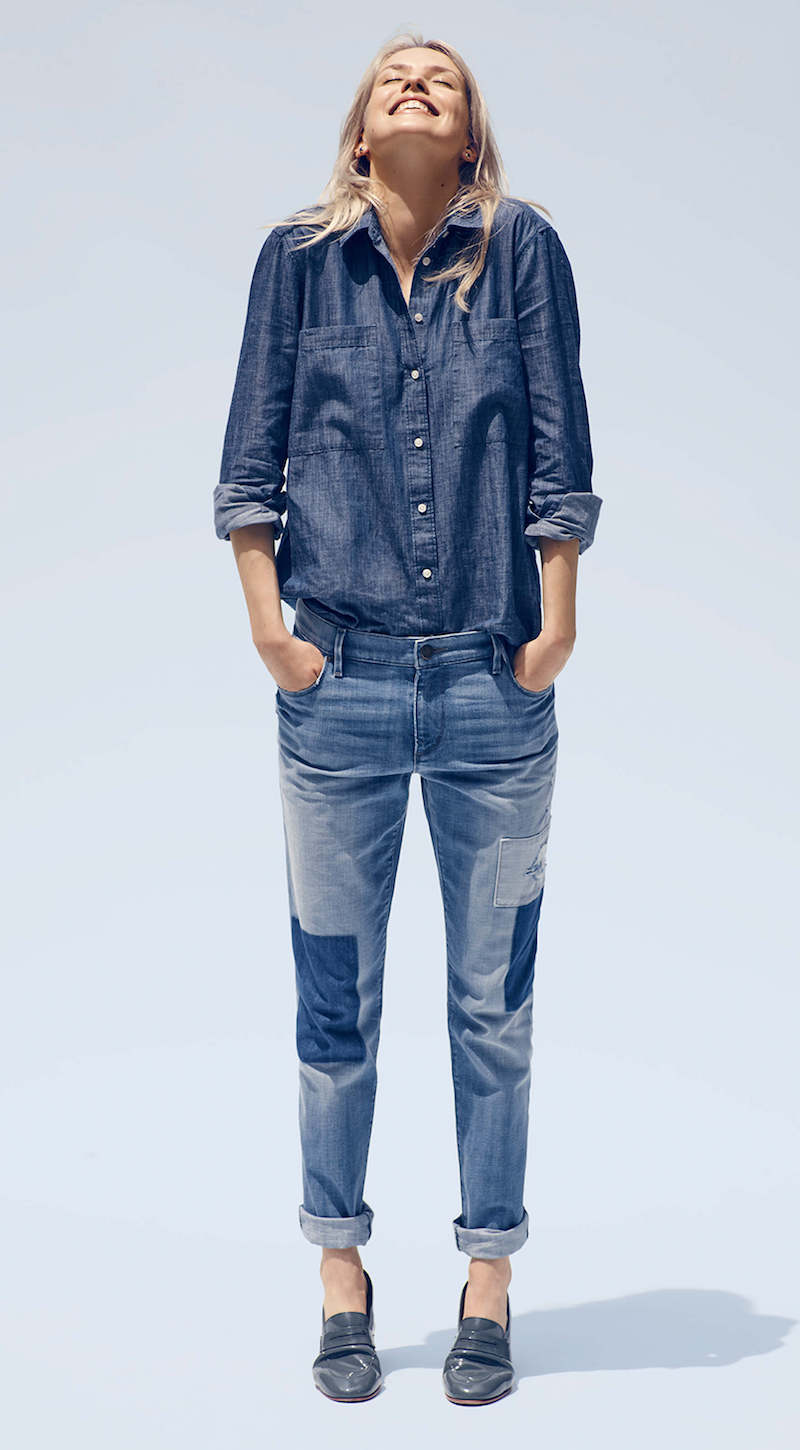 LOFT Relaxed Skinny Jeans in Patched Dark Indigo Wash