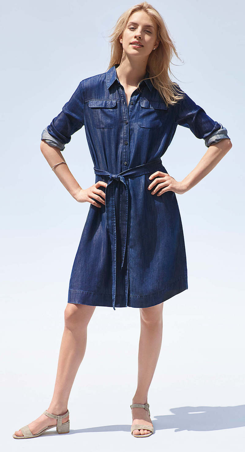 LOFT Swingy Chambray Shirtdress
