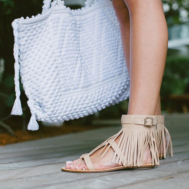 Loeffler Randall Sienna Fringe Ankle Cuff Flat Sandal