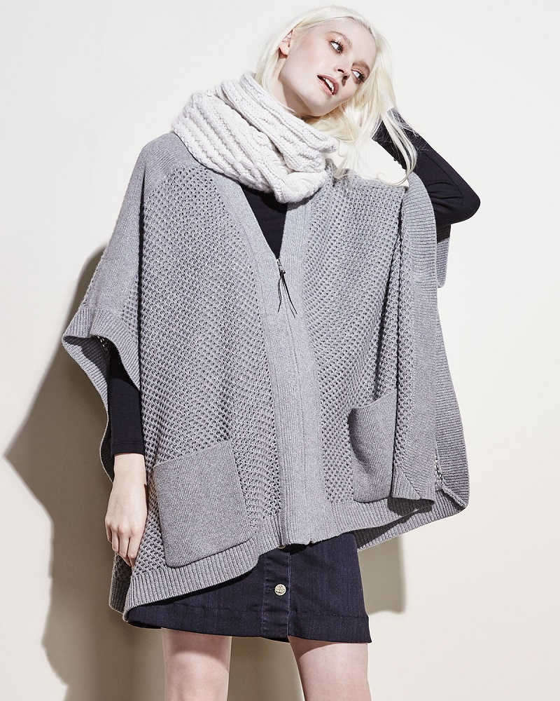 Loma Zip-Front Wool-Cashmere Poncho