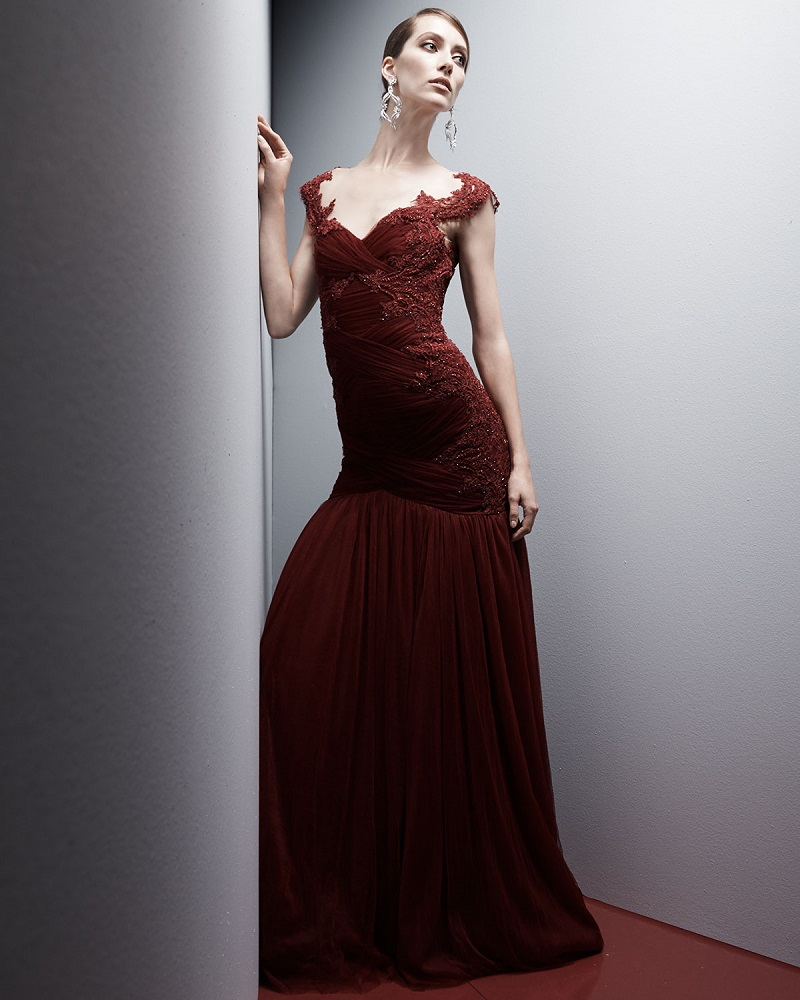 Marchesa Embroidered Lace & Tulle Gown