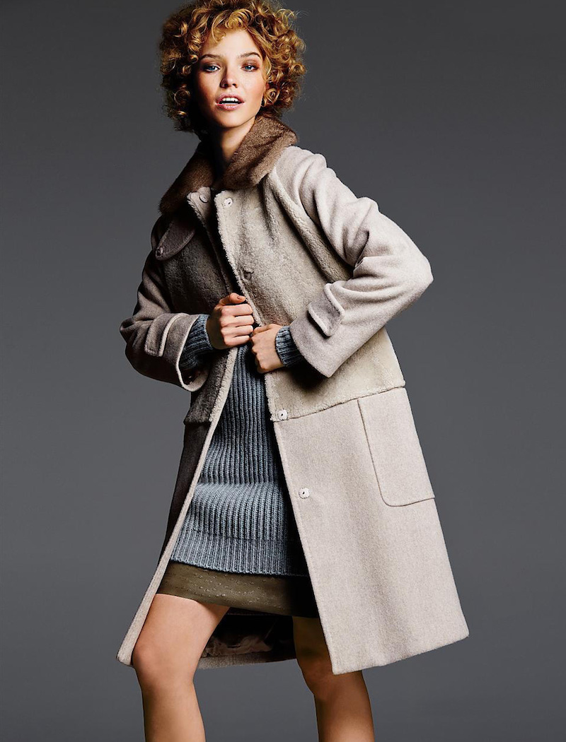 Max Mara Bolero Mink-Collared Shearling & Wool Cashmere Coat