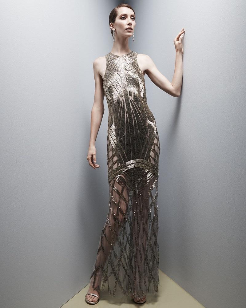 Monique Lhuillier Geometric Beaded Illusion Gown