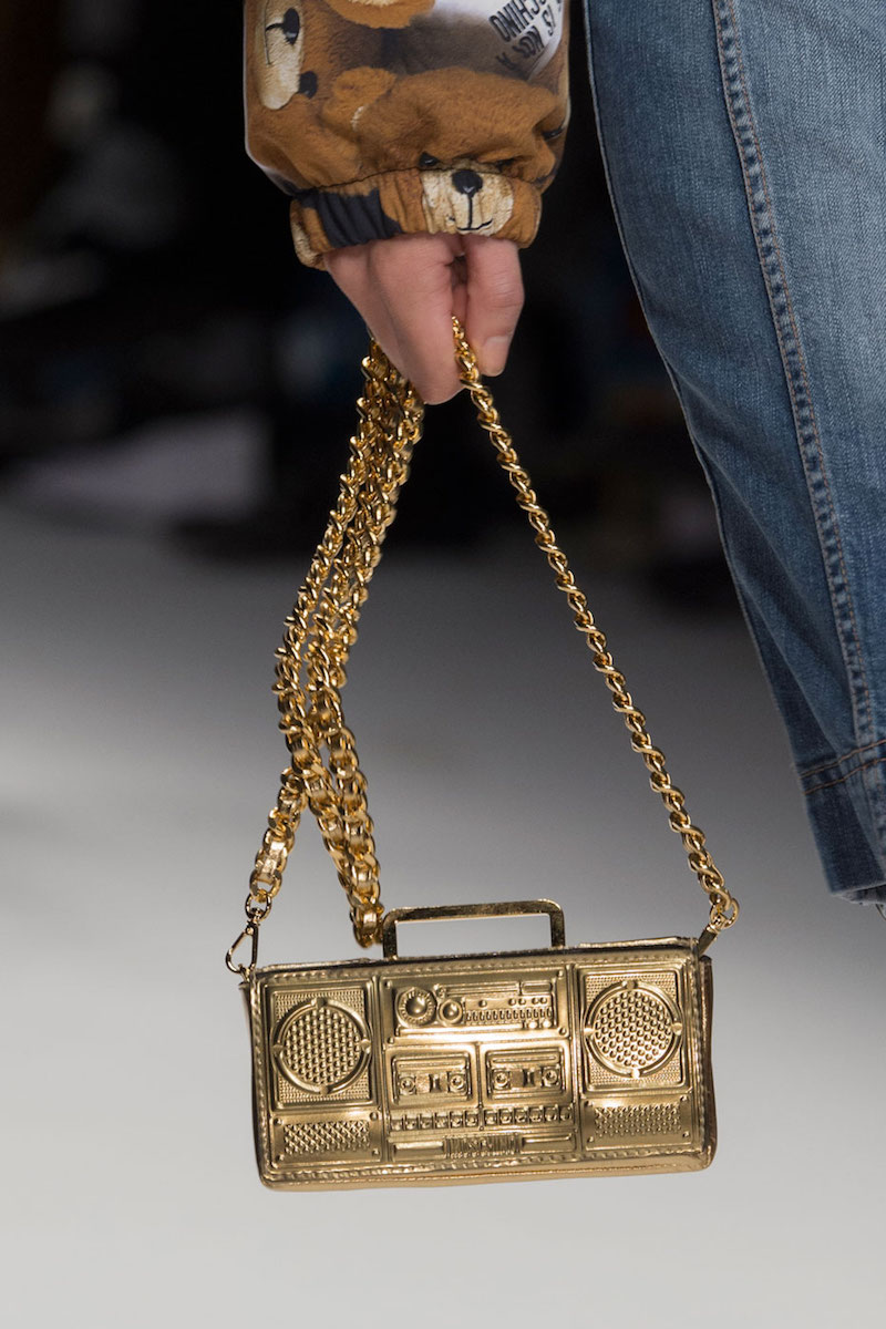 Moschino Boom Box Shoulder Bag, Gold