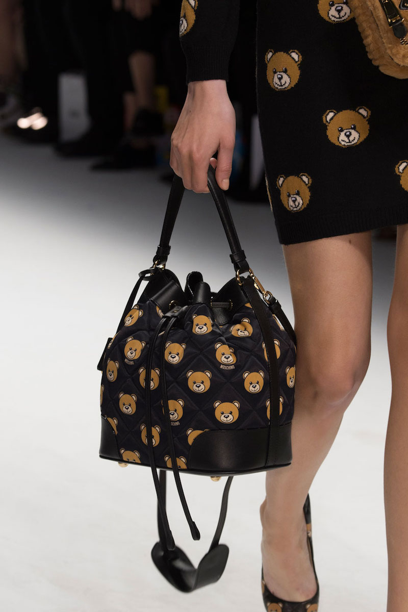 Moschino Quilted Small Teddy-Bear-Print Bucket Bag