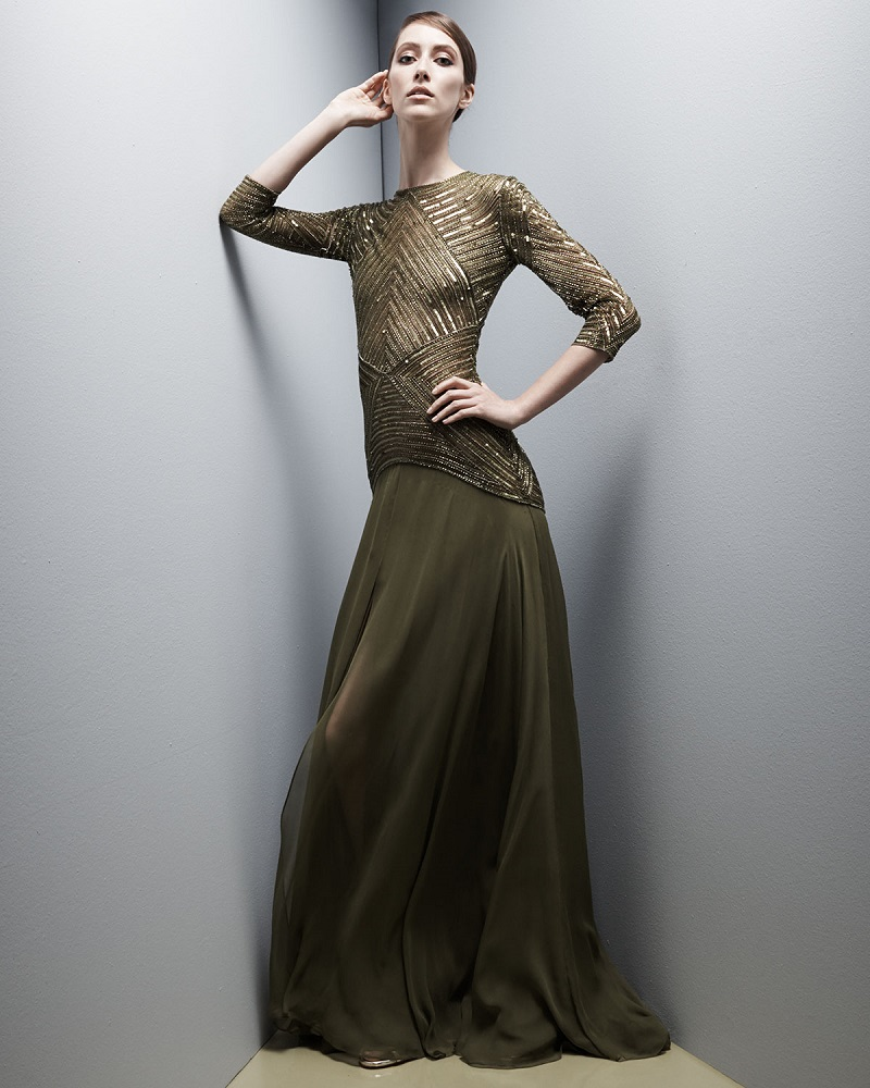 Naeem Khan 34-Sleeve Geometric-Sequin Gown