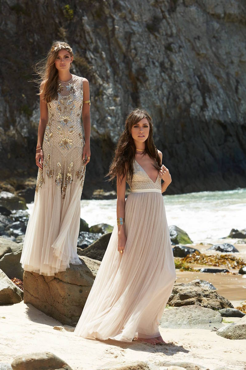 Needle & Thread Plunge V-Tulle Maxi Dress