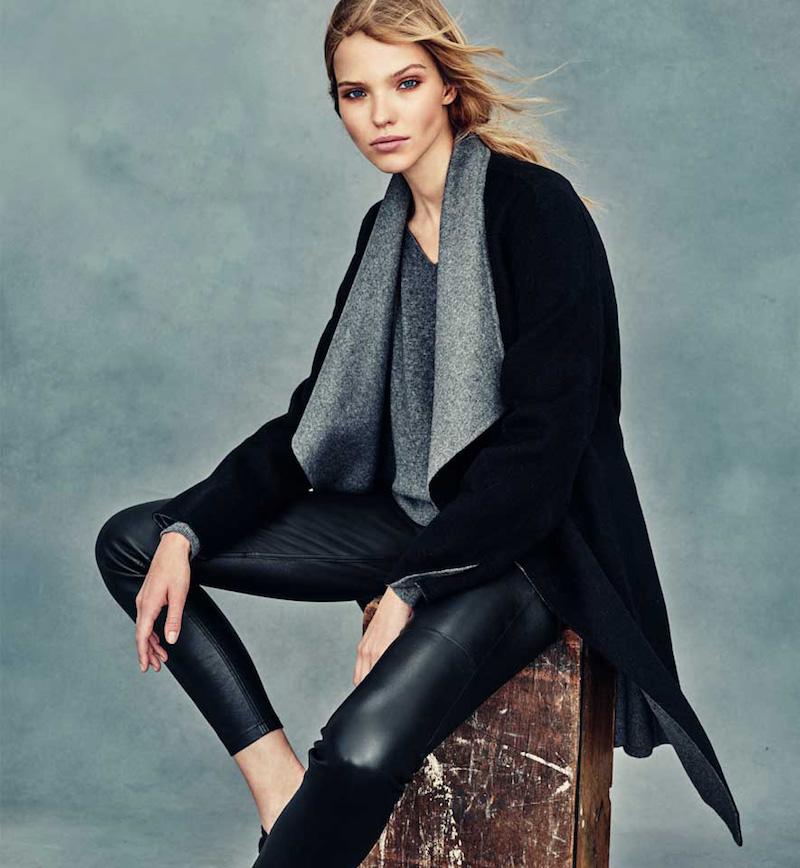 Neiman Marcus Cashmere Collection Cashmere Double-Face Two-Tone Wrap Coat