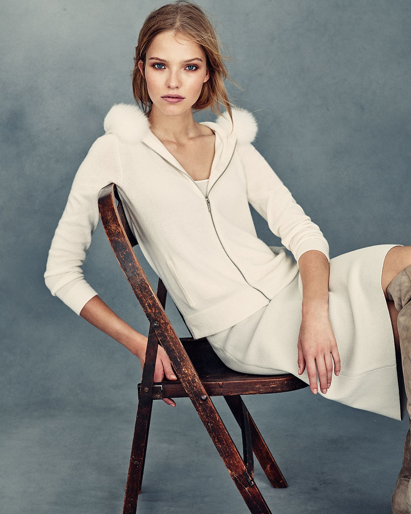 Neiman Marcus Cashmere Collection Fox-Fur-Trim Cashmere Hoodie-