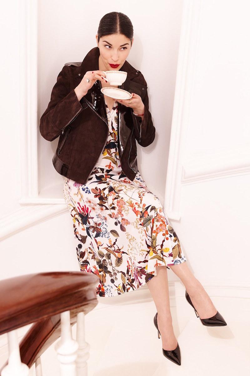 Nordstrom Signature and Caroline Issa Floral Print Silk Twill Dress