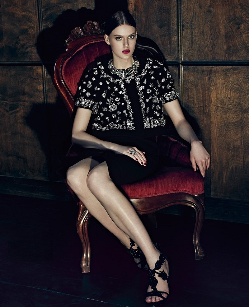 Oscar de la Renta Embellished Stretch Wool Jacket