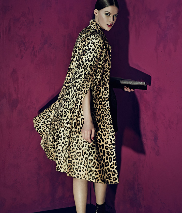Saint Laurent Leopard-Print Goat Fur Cape