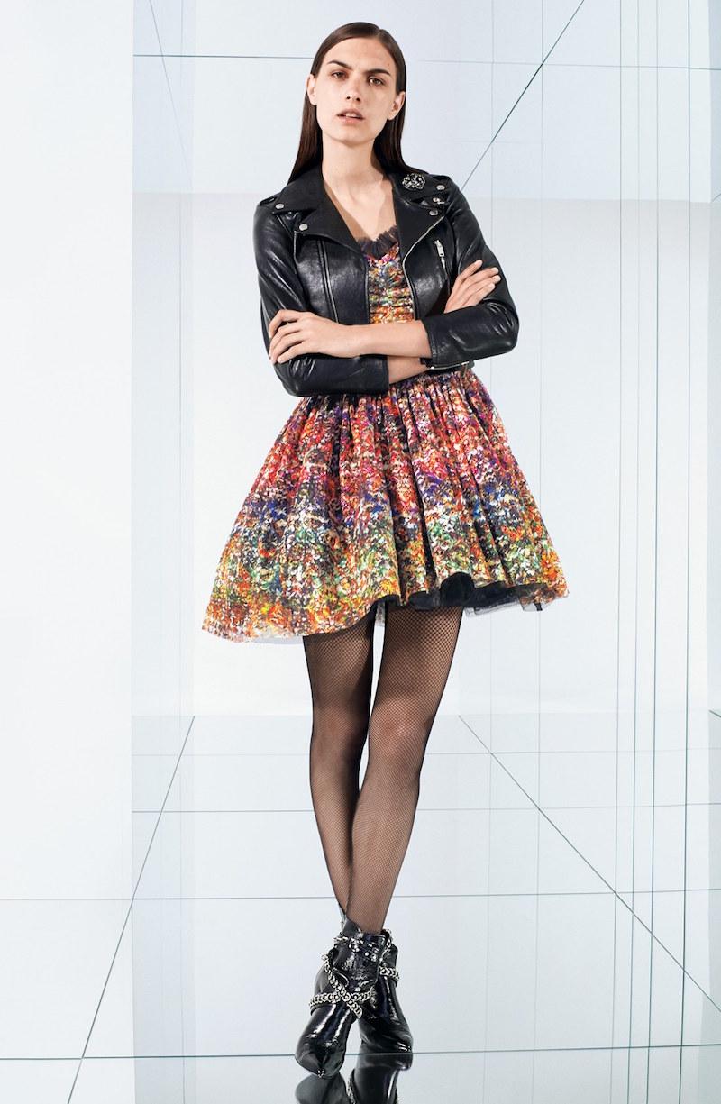 Saint Laurent Lulu Floral Lace Lamé Dress