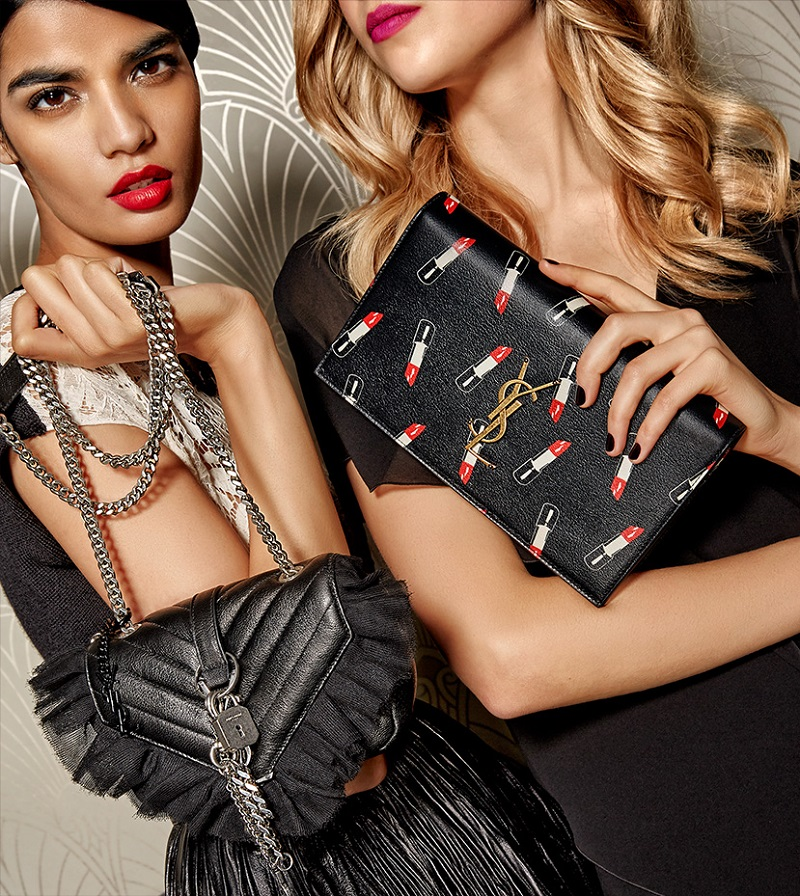 Saint Laurent Monogramme Matelasse Leather & Tulle Crossbody Bag