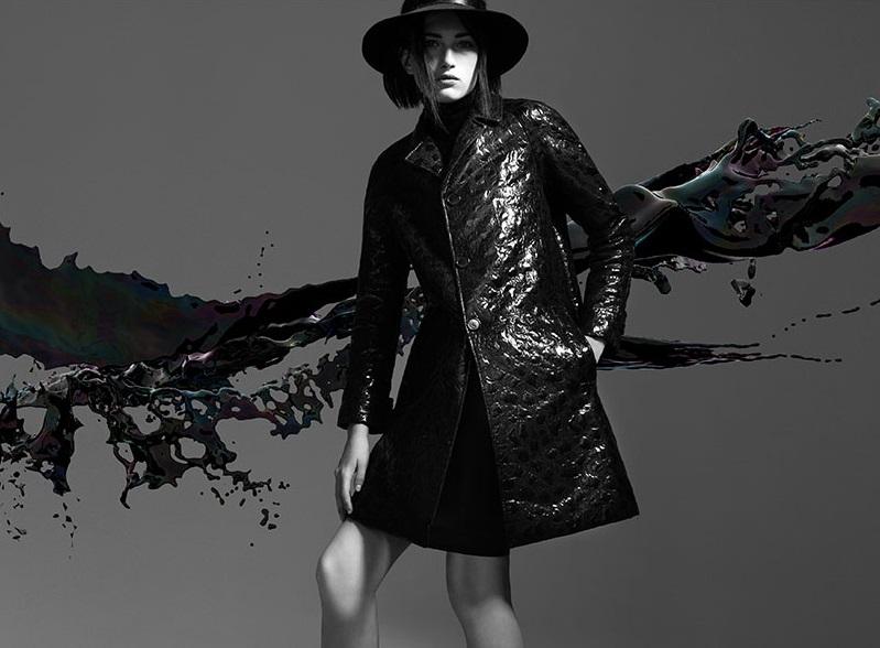 Saint Laurent coated ruched overcoat