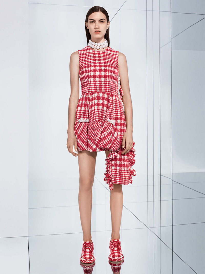 Simone Rocha Plaid Tweed Drop Hem Dress