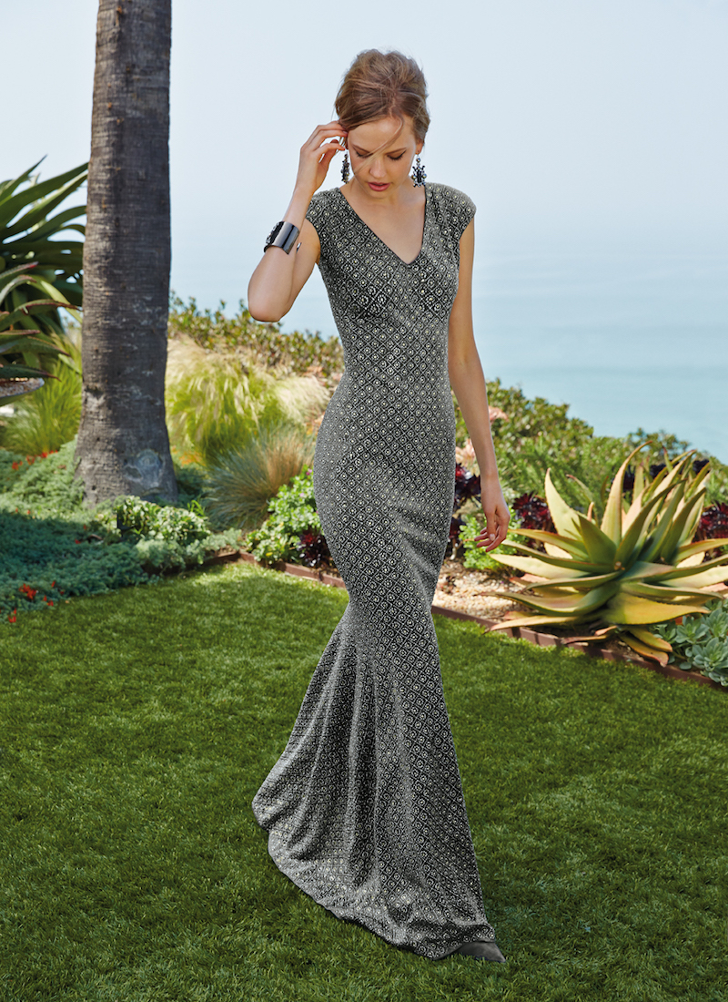 St. John Collection Cap-Sleeve Floral Lattice Sequined Gown