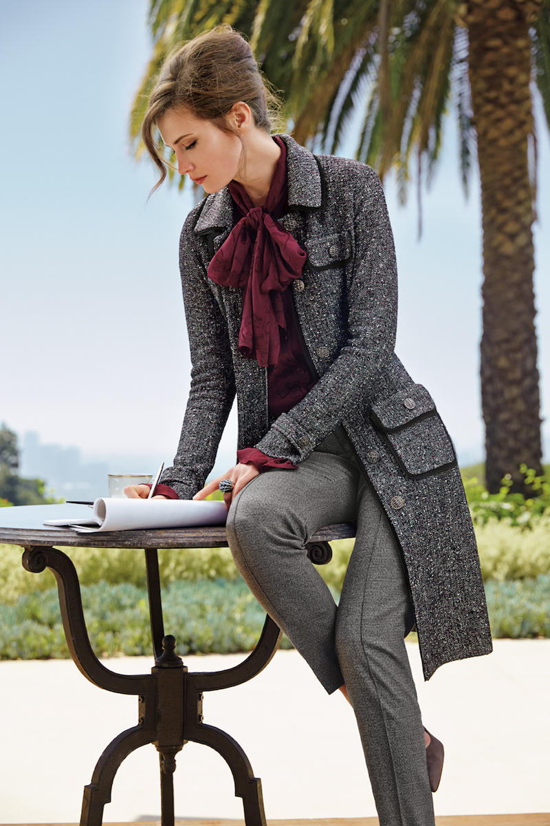 St. John Collection Flecked Inlay-Knit Topper Coat
