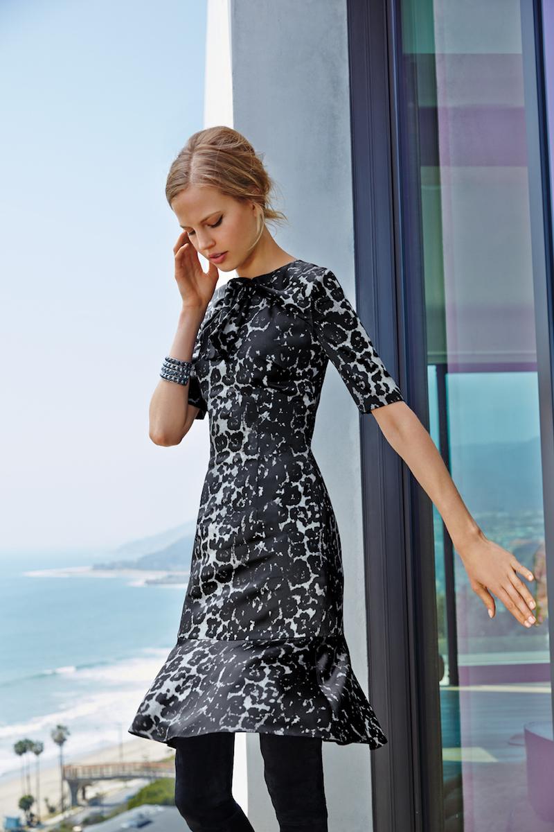 St. John Collection Leopard-Print Flounce-Hem Dress