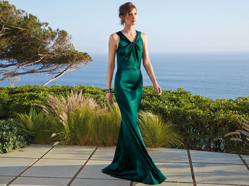 St. John Collection Liquid Satin Twisted Gown