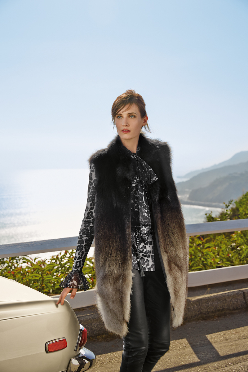 St. John Collection Ombre Fox Fur Vest with Pockets