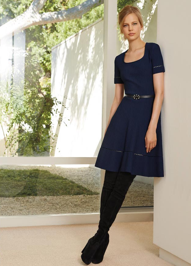 St. John Collection Ottoman-Knit Fit-and-Flare Dress