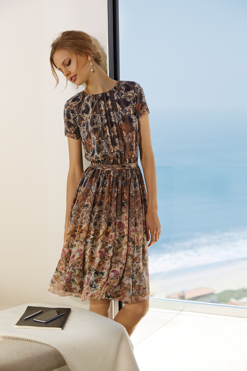 St. John Collection Print Silk Georgette Dress