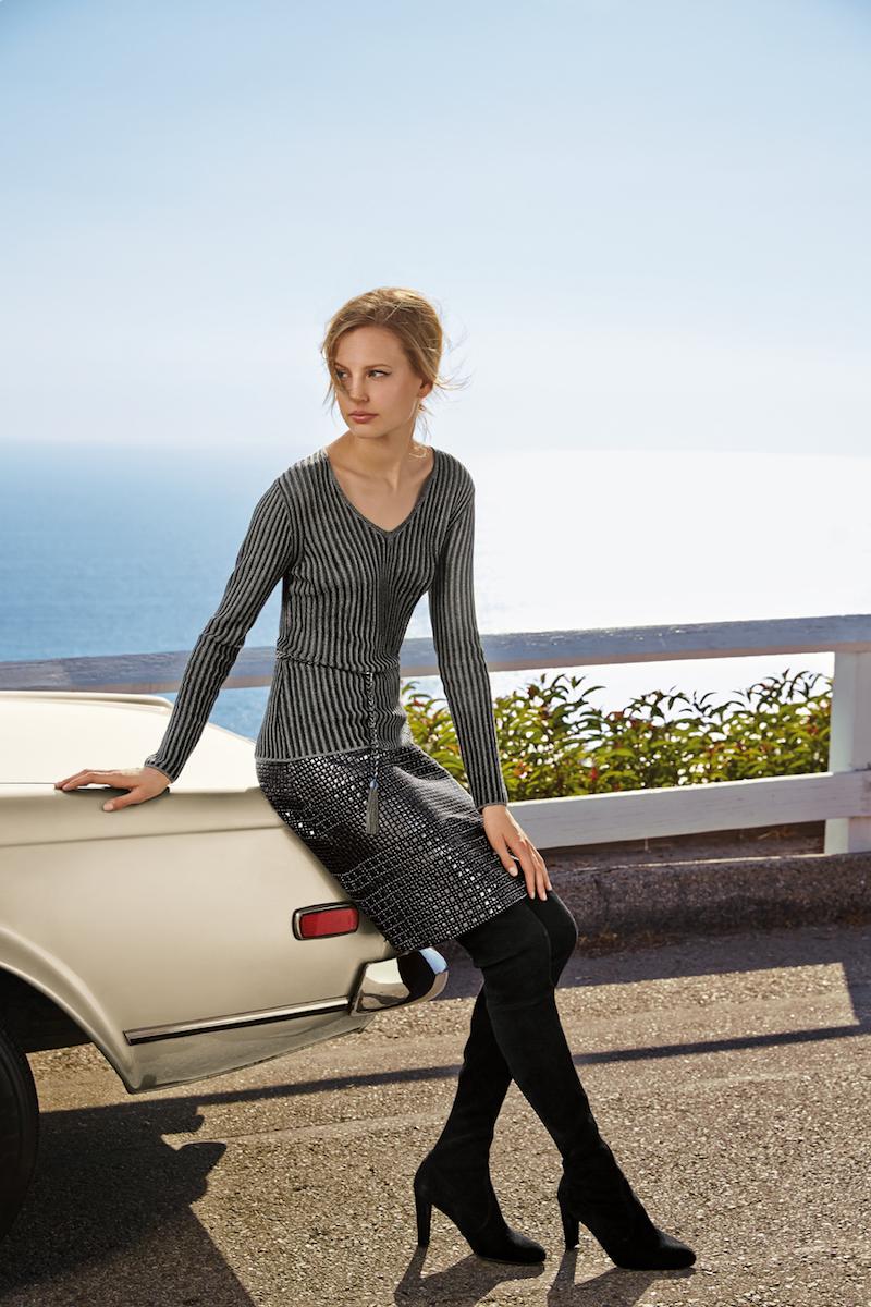 St. John Collection  Shimmer Striped V-Neck Sweater