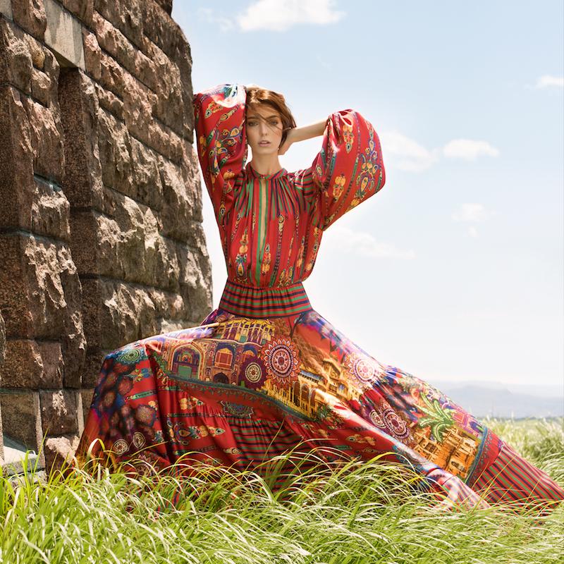Stella Jean Silk Printed Milwaukee Bell Sleeved Maxi Dress