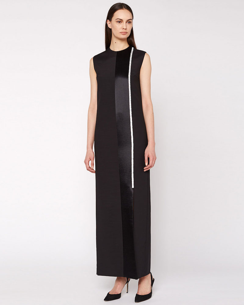 THE ROW Tazi Satin Embroidered-Stripe Tuxedo Gown
