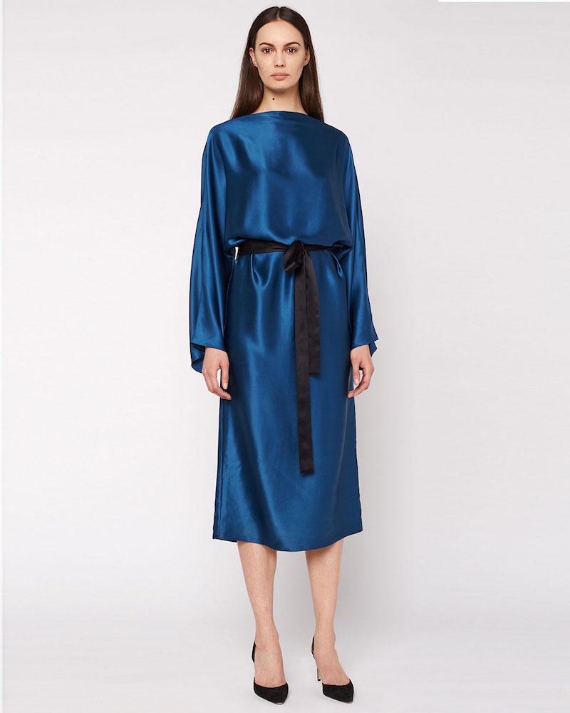 THE ROW Weath Satin Tie-Waist Dress