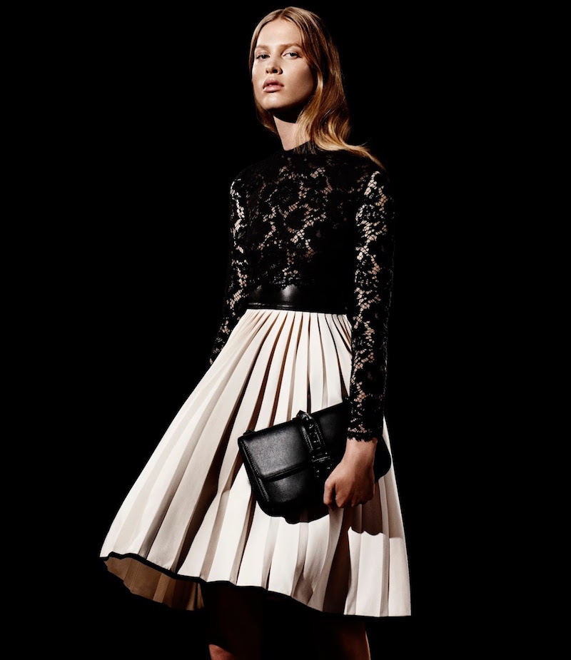 Valentino Combo Long-Sleeve Dress