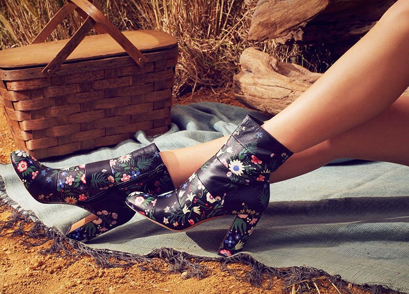 Valentino Floral-Print Leather Booties-1