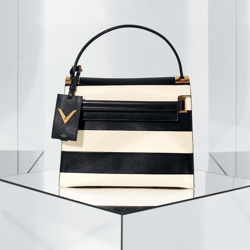 Valentino My Rockstud Small Stripe Leather Satchel