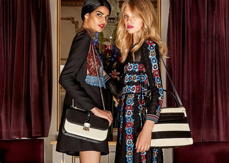 Valentino Rocklock Medium Two-Toned Leather Shoulder Bag