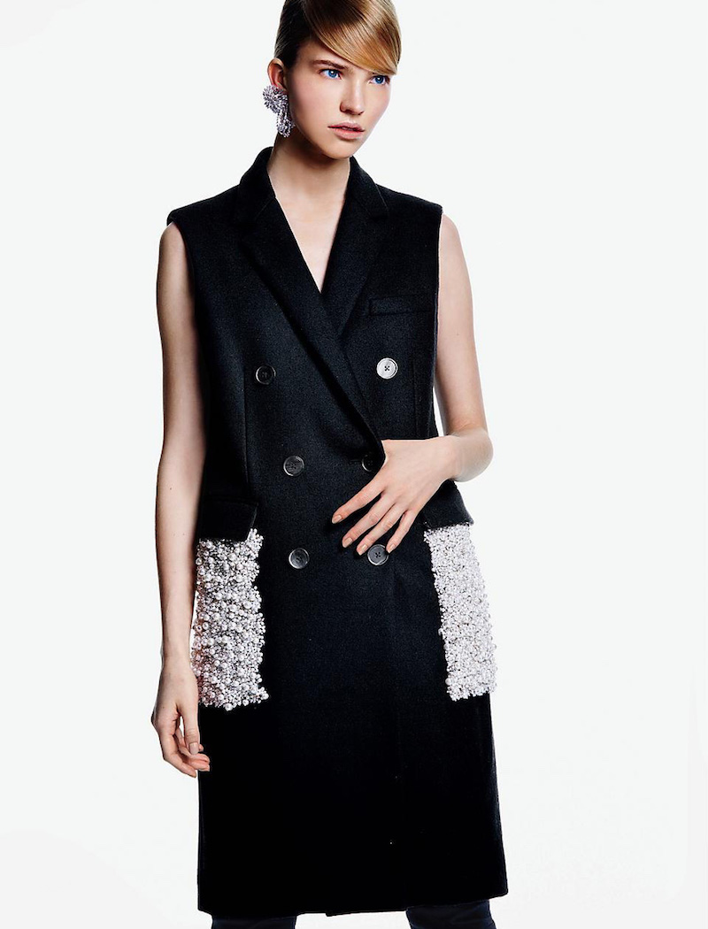 Vera Wang Embellished Pocket Sleeveless Coat